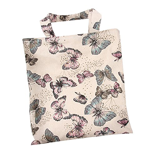 Nuni Women's Butterfly Print Cotton Canvas Tote Bag (Purple/ Zip closure)