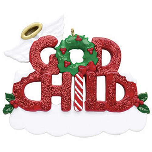 - Personalized God-Child Christmas Tree Ornament 2019 - Glitter Red Word Holly Wings Halo Wreath Best World's Greatest Love Baptism Tradition Special Forever Candy Cane - Free Customization