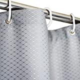 Extra Long Fabric Shower Curtain Eforcurtain Home Fashion Waffle Shower Curtain for Hotel, Waterproof and Mildew-Free Bathroom Curtain Durable Fabric, Extra Long 72Inch By 78Inch, Grey