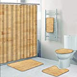 Philip-home 5 Piece Banded Shower Curtain Set Hardwood Maple Basketball Court Floor viewed from Above Pattern Adornment