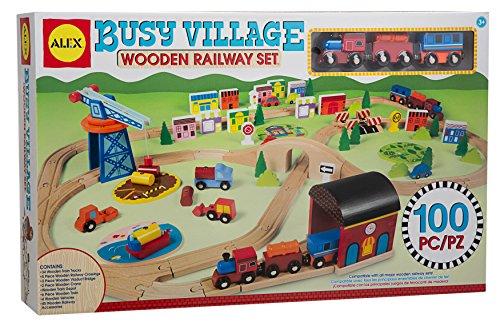 (ALEX Toys Busy Village Wooden Railway Set)