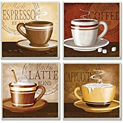 Home Décor Squares Espresso, Coffee, Latte, Cappuccino Wall Plaques