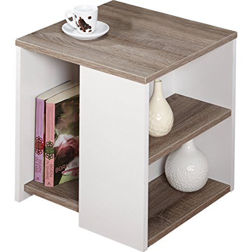 Urban - Features Include Open Shelves - Constructed of Laminated MDF - Modern Style - Sonoma Oak/White Finish (End Table) (Mdf Oak Table)