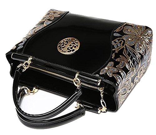 Patent Large Handbag Blue 2017 New Purse Leather Fashion 1 Bag Messenger Tote Ghlee Women's Ladies Shoulder wIPH44x