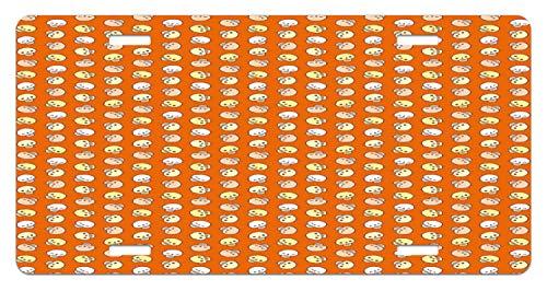 Lunarable Skull License Plate, Halloween Theme Spooky Happy Holiday Cartoon Skulls Cute Art Design Print, High Gloss Aluminum Novelty Plate, 5.88 L X 11.88 W Inches, Orange Tan Pale Yellow ()