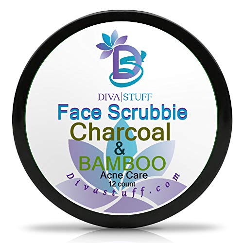 Diva Stuff Face Scrubbie Charcoal & Bamboo   Exfoliating Face Pads for Acne, Blackheads & Whiteheads   Clears Pores & Controls Sebum   Activated Charcoal, Bamboo Oil, Sulfur Powder, Tea Tree