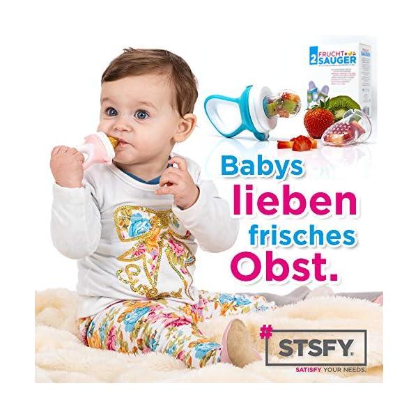 2 Chupetes Frutas para Bebés y Niños Pequeños + 6 Tetinas de Silicona en 3 Tamaños - sin BPA - Mordedor Verdura Papilla… 4