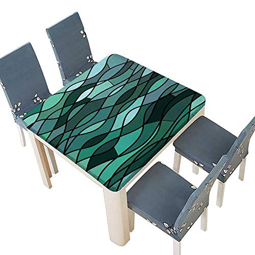 (PINAFORE Jacquard Polyester Fabric Tablecloth Abstract Stained Glass Mosaic Teal Waves Summer & Outdoor Picnics 33.5 x 33.5 INCH (Elastic)