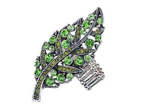- Alilang Womens Silvery Tone Emerald Peridot Green Crystal Rhinestone Leaf Stretchy Adjustable Ring