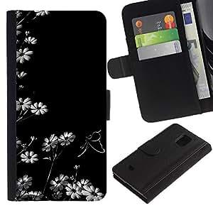 Be-Star la tarjeta de Cr¨¦dito Slots PU Funda de cuero Monedero caso cubierta de piel Para Samsung Galaxy S5 Mini (Not S5), SM-G800 ( Fleurs blanc Fond d'¨¦cran Nature Blooming Art )
