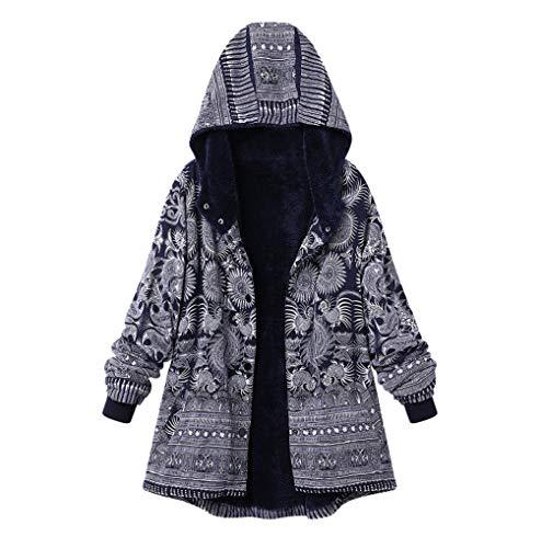 88482eaf4472 Fnkdor Sweat Polaire Fleurs D hiver bleu Manteaux Épais shirt À Capuche  Femmes Parka Impression C Chaud Rétro Manteau Zippé Veste rwxr01