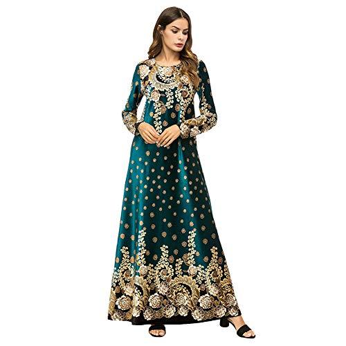 Xl For Print Robe Arabic Green Muslim Indian Women Long Islamic Dress Meijunter Dubai Velvet Abaya Gold Kaftan Sleeve Dresses 3L4RjcAq5