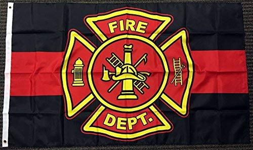 3x5 Red and Black Fire Department Polyester Flag Firefighter Outdoor Banner New