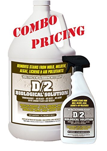 D2 Biological Solution 1 Gallon / (1) 32 oz Quart Spray Bottle Combo Pack (Best Cleaner For Granite Headstone)