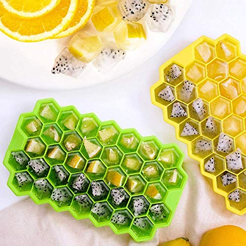 Silicone Ice Cube Trays,Easy-Release, BPA Free, Ice Tray with Lid for Baby Food,1 Pack of 37 Ice Cube Moulds for Chilled Drinks, Whiskey & Cocktails (1 Ice Tray)