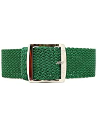 DaLuca Braided Nylon Perlon Watch Strap - Green (Polished Buckle) : 20mm