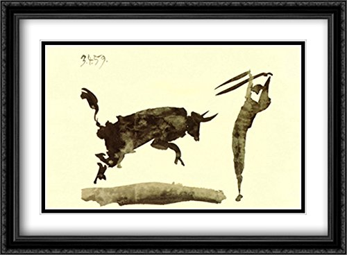 Carnet Toros Y Toreros 2x Matted 38x28 Large Black Ornate Framed Art Print by Picasso, Pablo by ArtDirect