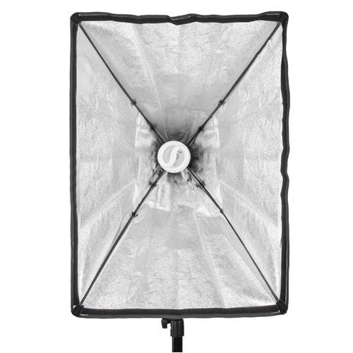 Flashpoint SoftBox, 70 watt Fluorescent Light Unit with Built in 19.5x27.5'' Silver Soft Box, with AC Plug and Spiral Fluorescent 5500K Bulb (translates into 350watt) Bundle - with Light Stand