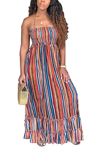 (Women Sexy Maxi Dress Colorful Striped Halter Sleeveless Ruffle Loose Dress One Piece Party Beach Holiday XXL)
