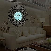 JinRou Personality fashion contemporary Creative Diamond Technology Luminous Watches/Iron Metal Wall Clock Decorated The Living Room Silent Quartz Wall Clock,60*60cm