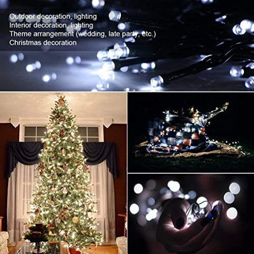 FULLBELL Indoor Outdoor String Lights,USB Christmas Lights,Black String Light with 8 Flash Modes,66 Feet 200LED Waterproof Fairy Twinkle Decoration for Party Tree Patio Garden Home White