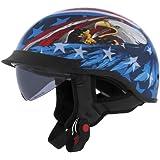 Cyber Helmets Leathal Threat U-72 Eagle Helmet with Internal Shield , Helmet Type: Half Helmets, Helmet Category: Street, Distinct Name: US Eagle, Primary Color: Blue, Size: Md, Gender: Mens/Unisex 640872