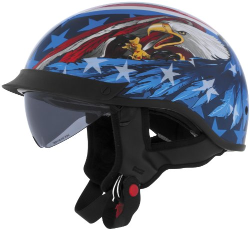 Cyber Helmets Leathal Threat U-72 Eagle Helmet with Internal Shield , Helmet Type: Half Helmets, Helmet Category: Street, Distinct Name: US Eagle, Primary Color: Blue, Size: XS, Gender: Mens/Unisex 640870