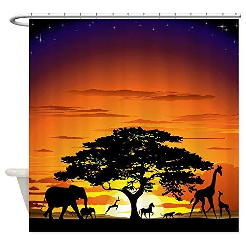 Wild Animals Polyester Shower Curtain - Wlioohhgs Wild Animals On African Savannah Sunset Shower Cur Decorative Fabric Shower Curtain (69