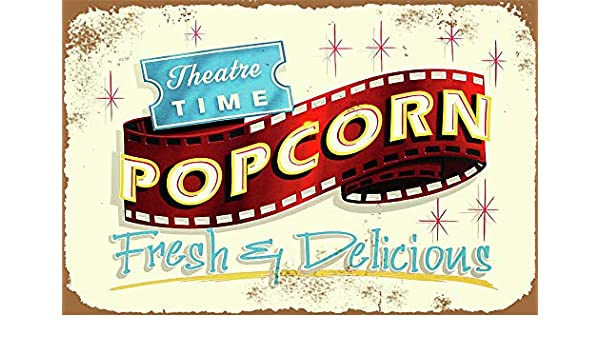 contemporary art Popcorn Coffee Bar Decor tin metal sign