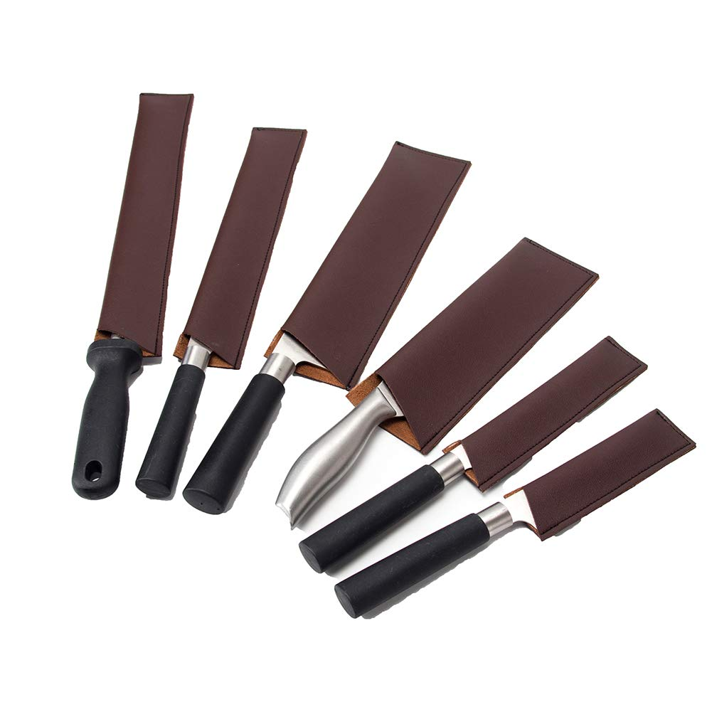 Leather Knife Sheath, Knife Guard, Knife Cover Sleeves, Waterproof Knife Protectors, Heavy Duty Universal Knife Edge Guard Set Of 6 (HGJ157) by Hersent