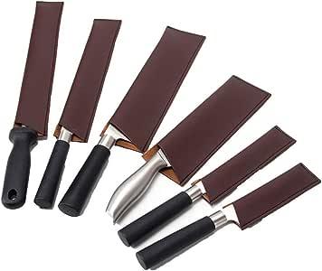 Cubiertas De Piel Para Cuchillos De Chef, Fundas Protectoras Para Cuchillos, *6 Bolsas Para Cuchillos, Cubiertas De Cuchillos De Cuero, CYGJB146: Amazon.es: Hogar