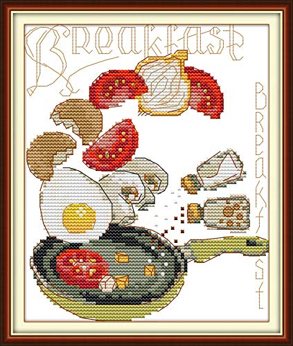 Stamped Cross Stitch Kits Cross-Stitching Pattern for Home Decor, Embroidery Crafts Needlepoint Kit-The Breakfast Pattern for Home Kitchen Wall Decorations (Kitchen Stitch Cross Pattern)