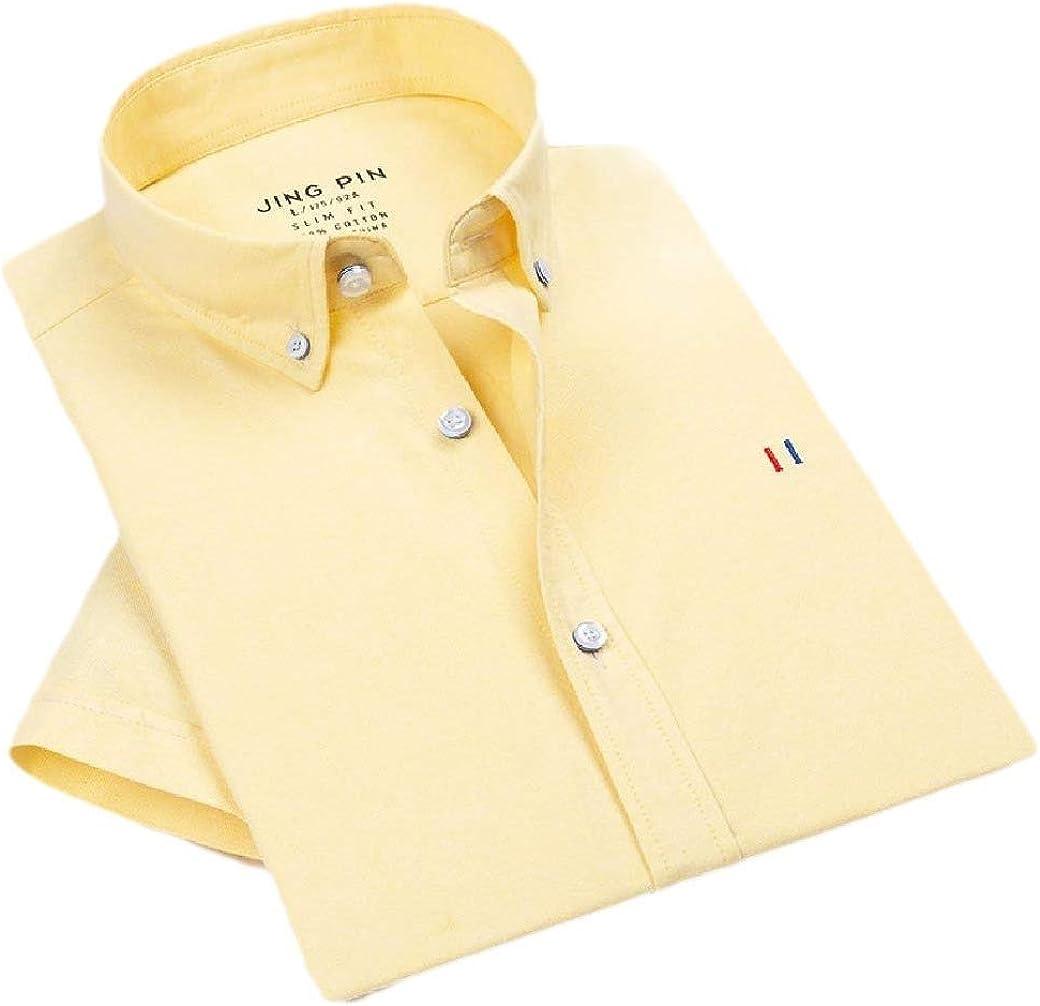 Zimaes-Men Business Short-Sleeve Solid Colored Oxford Vintage Wash T-Shirts