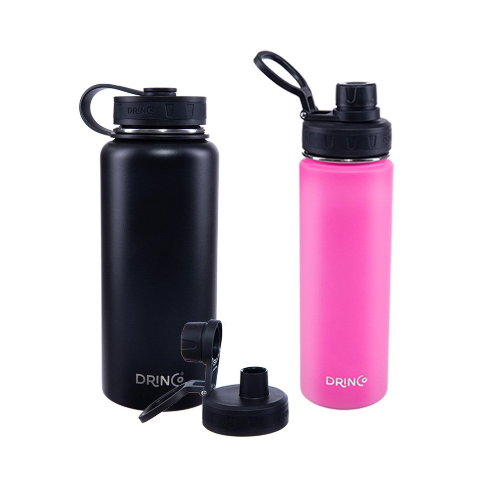 Drinco Vacuum Insulated Stainless Steel Water Bottle, with Spout Lid, Wide Mouth, Leak Proof, Powder Coated, Double Wall, 18/8 Grade, Stainless Steel Water Bottle
