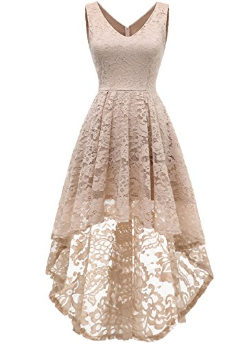 MUADRESS 6666 Women's Sleeveless Hi-Lo Lace Formal Dress Cocktail Party Dress V Neck Champagne Medium