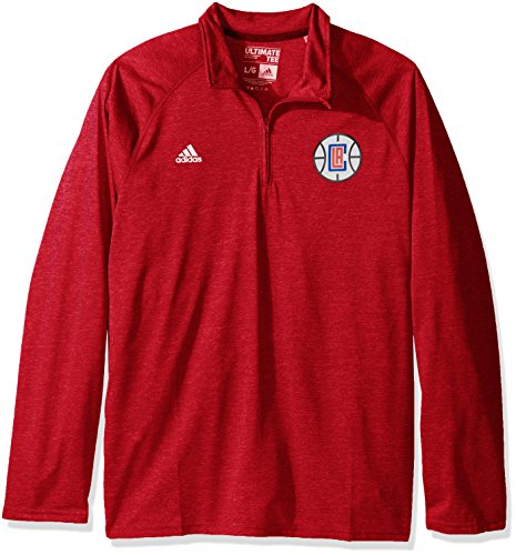 Adidas Nba - NBA Los Angeles Clippers Men's Climalite Ultimate Long Sleeve 1/4 Zip Top, Large, Red