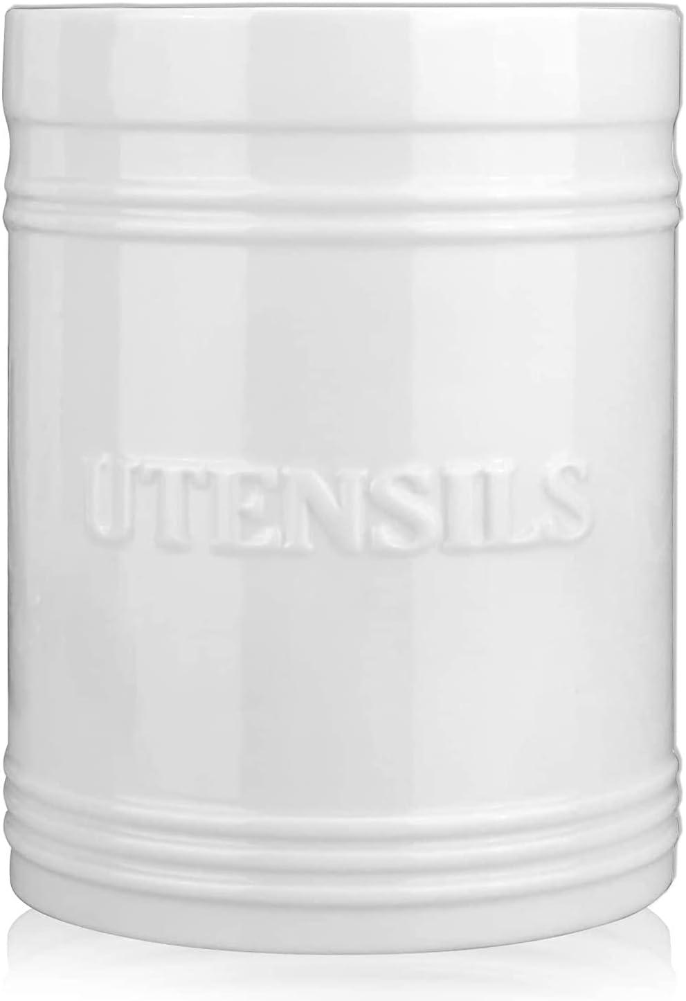 Best White Large Ceramic Utensil Crock Kitchen Spoon Stand Utensil Jar Flatware Caddy Cooking Spoon Utensil Holder Organizer Silverware Holder Stove Top Utensil Holder