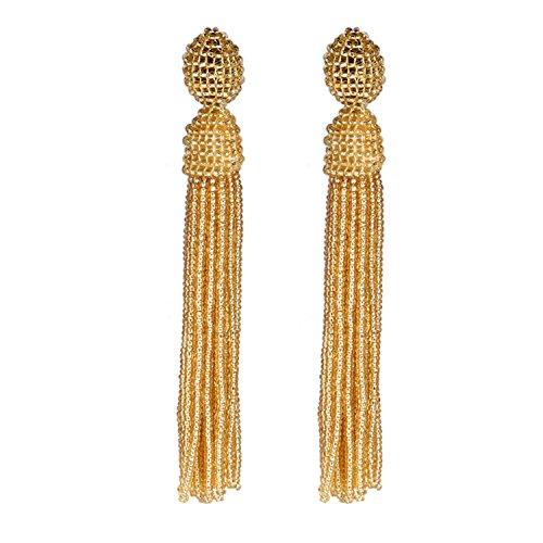 Bonnie Women's Tassel Long Earring Bead Solid Color Handmade Stud Tassel Earrings (Gold)
