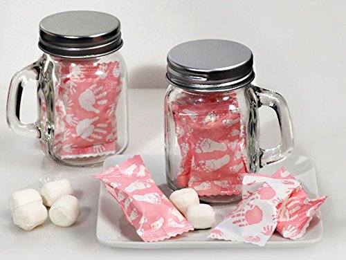 Mint Candy Favors with Mason Jar Girl Feet and Hand Design