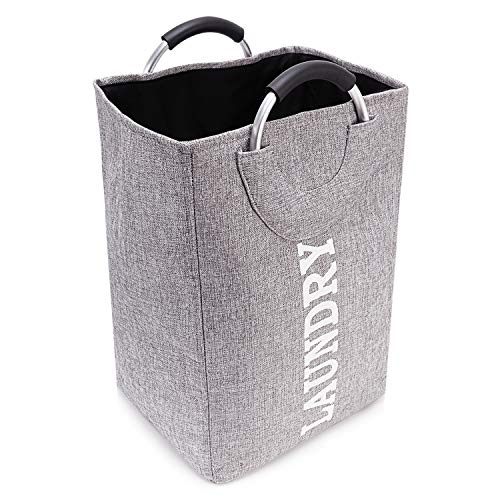 Veidoo Laundry Hamper, Laundry Basket with Handle, Large-Capacity, Collapsible, Easy to Carry, Made in Fabric, no Abnormal Odour (Grey) (12.5x11x19.2)