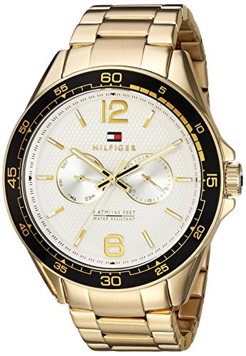 Tommy Hilfiger Men's 'Sophisticated Sport' Quartz Resin and Gold-Tone-Stainless-Steel Casual Watch, Color:Gold (Model: 1791365)