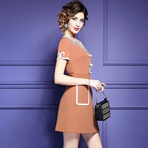 Dress Business Pockets v Sleeve Short Women`s Pencil Dresses Slim Neck cotyledon Yellow With wA1qZz