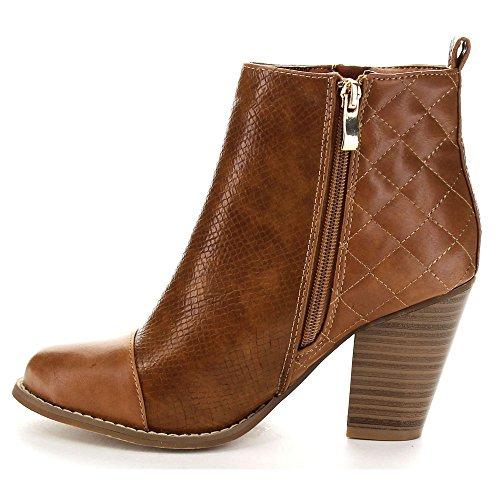 Bella Marie Gina-15 Womens Cap Toe Zip Up Quilt Snake Fashion Stivaletto Alla Caviglia Tan