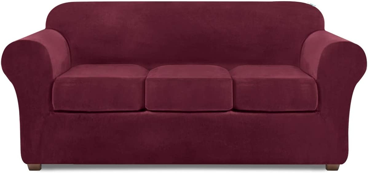 Couch Covers for 3 Cushion Couch Velvet Sofa Cover 4 Piece Couch slipcover (Burgundy)