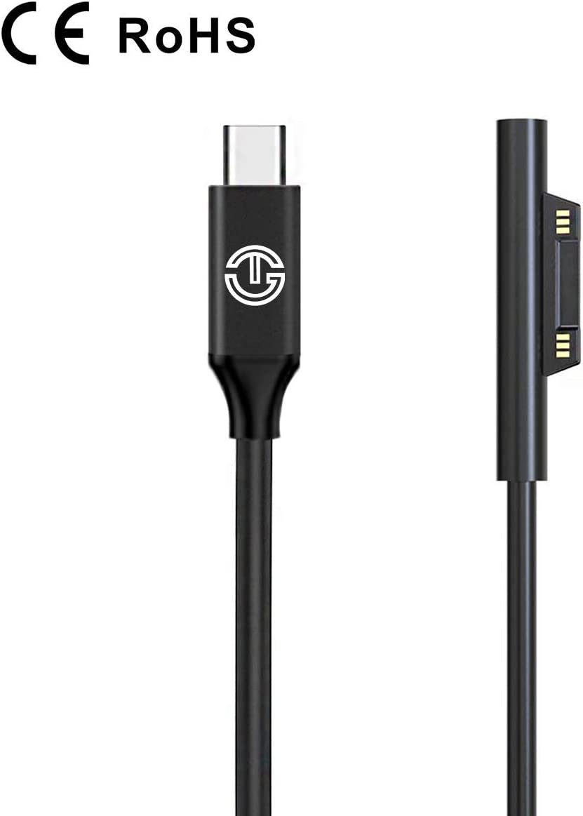 J-Go Tech Original Surface Connect To USB-C Charging Cable 15V/3A with CE and ROHS Safety Certificates (For Microsoft Surface Pro 3/4/5/6/7 Surface Book 1 Surface Go Surface Laptop 1/2/3)
