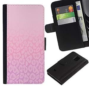 Billetera de Cuero Caso Titular de la tarjeta Carcasa Funda para Samsung Galaxy S5 Mini, SM-G800, NOT S5 REGULAR! / Pattern Pink Purple Bright Clean / STRONG