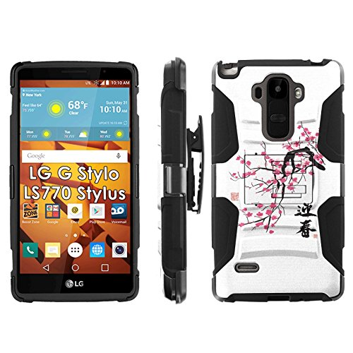 LG G Stylo LS770 H631 Phone Cover, Cherry Blossom- Blitz Hybrid Armor Phone Case for [LG G Stylo LS770 H631] with [Kickstand and Holster] by Mobiflare