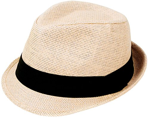 Simplicity Summer Sun Short Brim Straw Fedora Hat, 756_Natural SM
