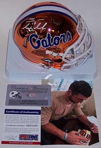 (Tim Tebow Autographed Hand Signed Florida Gators Chrome Speed Mini Football Helmet - PSA/DNA)