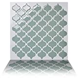Tic Tac Tiles Anti-mold Peel Stick Wall Tile in Damask Jade (10 Tiles)